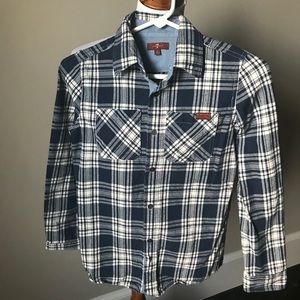7 for All Mankind navy plaid flannel shirt